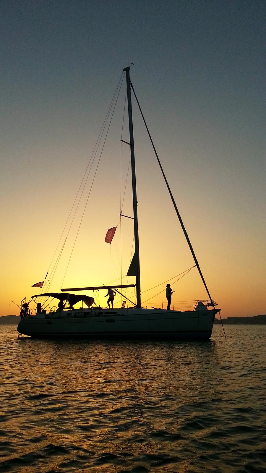 Moon sailing at Greece